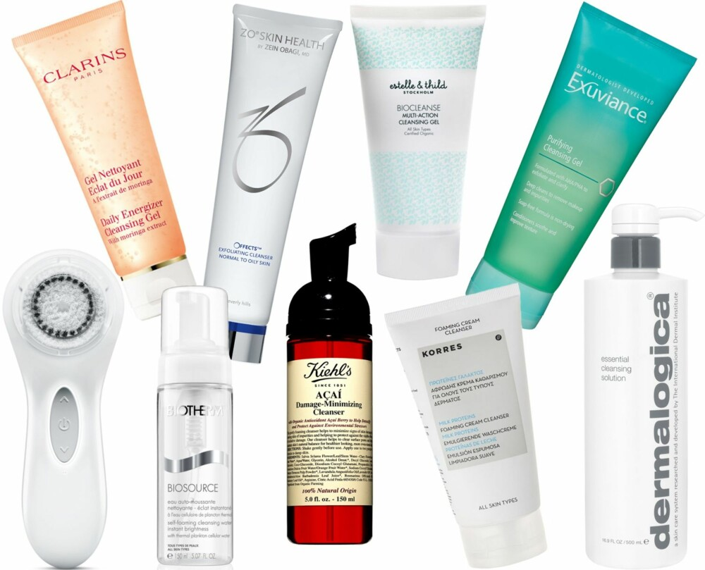 ULIKE RENSEPRODUKTER (f.v.): Clarisonic Aria Sonic Cleansing White, kr 1550. Clarins Daily Energizer Cleansing Gel, kr 120. Biotherm Biosource Self-Foaming Cleansing Water, kr 220. Zo Skin Health Offects Exfoliating Cleanser, kr 550. Kiehl's Açai Damage-Minimizing Cleanser, kr 215. Estelle & Thild Biocleanse Multi-Action Cleansing Gel, kr 189. Korres Milk Proteins Foaming Cream Cleanser, kr 199. Exuviance Purifying Cleansing Gel, kr 299. Dermalogica Essential Cleansing Solution, kr 465.