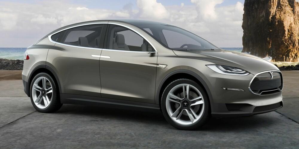 MODEL X: De første versjonen av Tesla Model X er ventet mot slutten av året. ILLUSTRASJON: Tesla