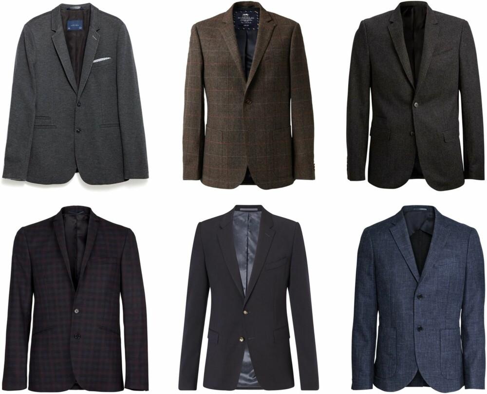 BLAZERE FOR HERRE: <b>Øverst fra venstre:</b> Zara, kr 799. MQ, kr 1999. Selected Homme, kr 1000. <b>Nederst fra venstre:</b> Samsøe & Samsøe, kr 2599. Tommy Hilfiger, kr 3999. H&M, kr 999.