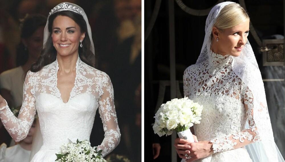 BRUDEKJOLE MED BLONDEERMER: Alle husker hertuginne Kate av Cambridge sin nydelige brudekjole med blonder, som nå er en stor trend i brudekjoleverden. Til høyre er Nicky Hilton i sin variant fra Valentino da hun giftet seg tidligere i år.