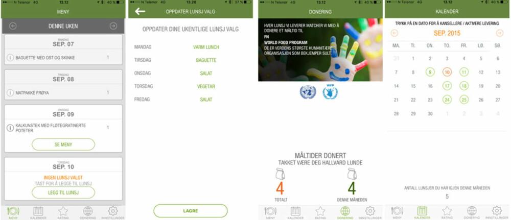 LUNSJ-APP: Noen skjermbilder fra appen til LunchFarm som viser hvordan den ser ut.