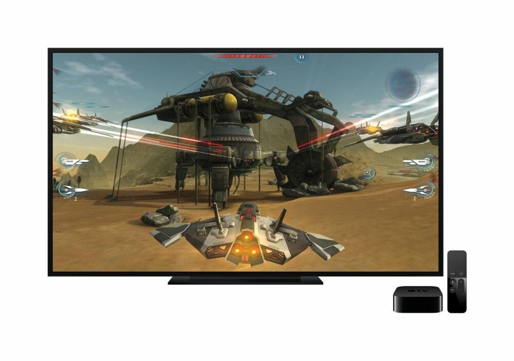 SPILL: Apple TV blir også en egen spillplatform. Fjernkontrolleren har bevegelsessensorer så du kan bruke den på samme måte som en Nintendo Wii-kontroller.