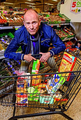 Nei-mat: Gluten finnes i en rekke matvarer, og i handlekurven ligger noen eksempler på ting Christer ikke kan spise.