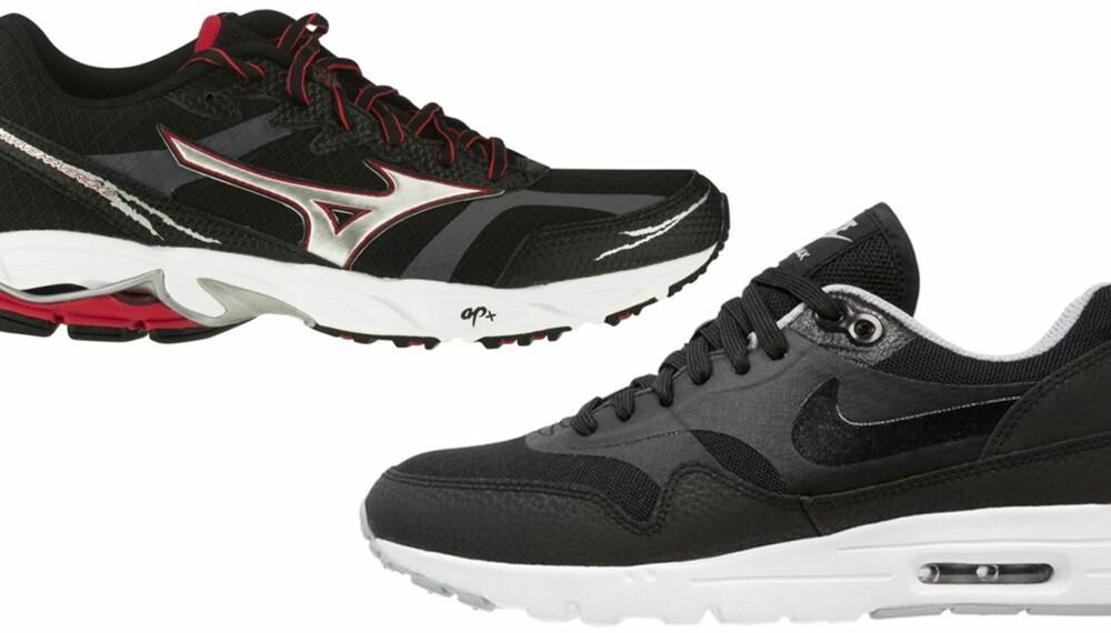 JOGGESKO VS SNEAKERS: Det er forskjell på hva du bruker joggesko og sneakers til. Her fra Mizuno, kr 999 (t.v.) og Nike, kr 1295 (t.h.).