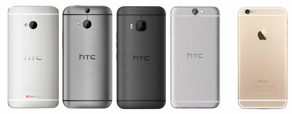 FAMILIEN: HTC har sitt på det tørre, rent designmessig. Her er utviklingen fra den første HTC One. Fra venstre: HTC One (M7), HTC One M8, HTC One M9, HTC One A9. For sammenligningens skyld ser du Apple iPhone 6s helt til høyre.