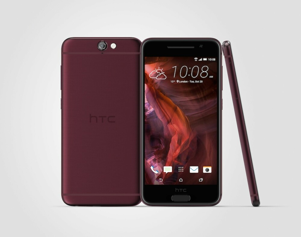 DYP RØD: I begynnelsen kommer HTC One A9 i bare mørkegrå farge, såkalt 'Carbon Grey'. I løpet av første kvartal neste år kommer den også i fargen 'Deep Garnet Red', en dyp rødfarge.