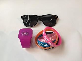 TML-klokke, solbriller og 7 forskjellige armbånd.