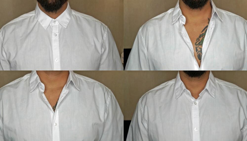 TO SKAL UT: Ser du hvilke to skjorter som er helt feil kneppet?