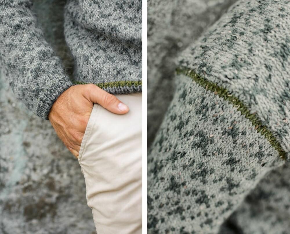 STRIKKEGENSER TIL HERRE: Her kan du se detaljer av genseren.