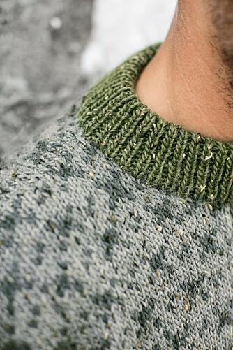 HALSKANT: Slik ser halskanten på den klassiske genseren ut.