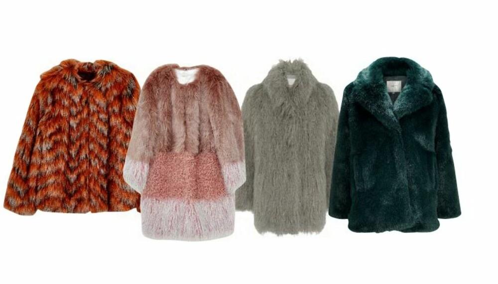 FUSK: Det er mange grunner til ikke å bruke ekte pels, og det er mange grunner til at vi digger fuskepels. For eksempel disse fire kåpene.