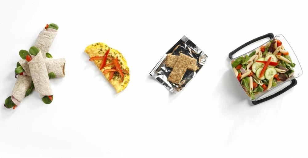 BRUK RESTENE FRA GÅRSDAGENS MIDDAG: Fyll wraps med middagsrester, stek en kjapp omelett, ta med en proteinbar eller bruk pastarestene fra igår.