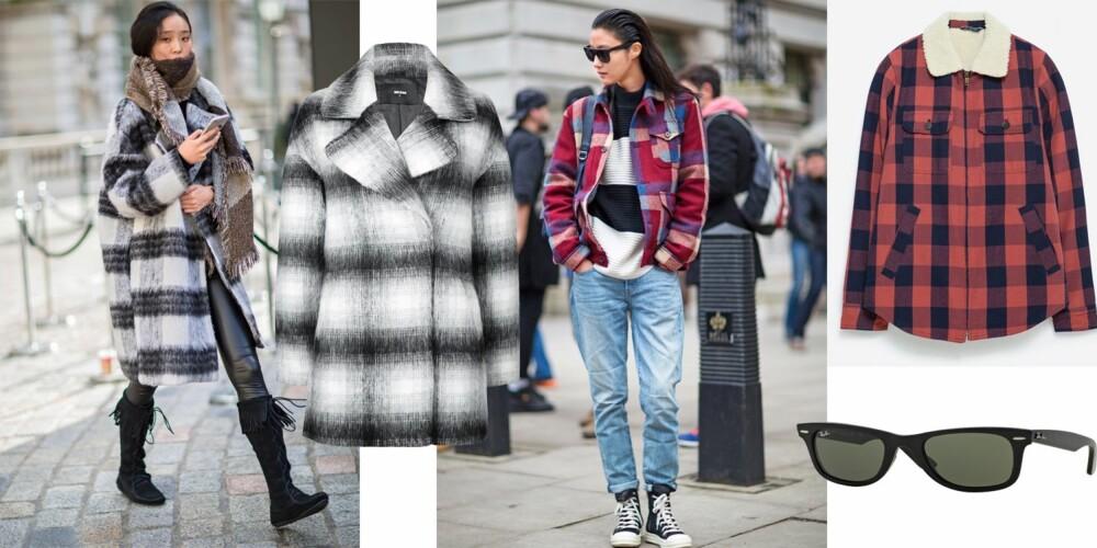 ROCKA: Den rutete kåpen er ekstra kul til et par skinnbukser, og skjortejakken stjeler du fra klesskapet til typen. Jakke i sort og hvitt (kr 799, Bik Bok), i rødt og sort (kr 799, Zara Mann) og klassiske it-briller (kr 1450, Ray Ban).
