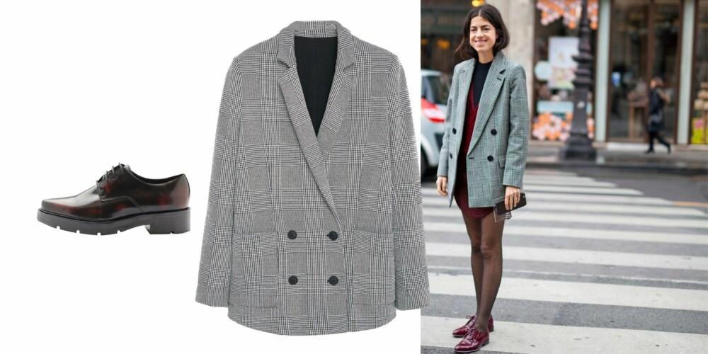 MACHOFEMININ: Den rutete blazeren og de herreinspirerte skoene blir straks mer feminine med en kort minikjole til. Blazer (kr 599, Mango) og herreinspirerte sko (kr 1099, Bianco).
