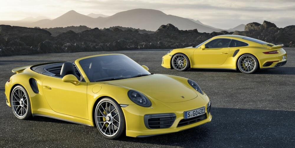SPREK GAMLING: Porsche 911 har for lengst rundet femti, men er sprekere enn noen gang. Turbomodellen som lanseres i 2016 kommer både som kupé og som kabriolet.