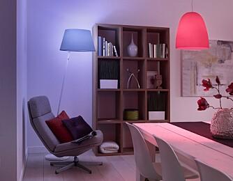 FARGER: Philips Hue kan lyse i alle tenkelige farger. Morsomt i starten, men mest en gimmick.