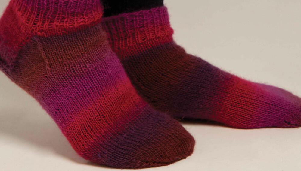 KORTE SOKKER: Her får du oppskriften på sokkene som er som skapt for ankelstøvlettene.
