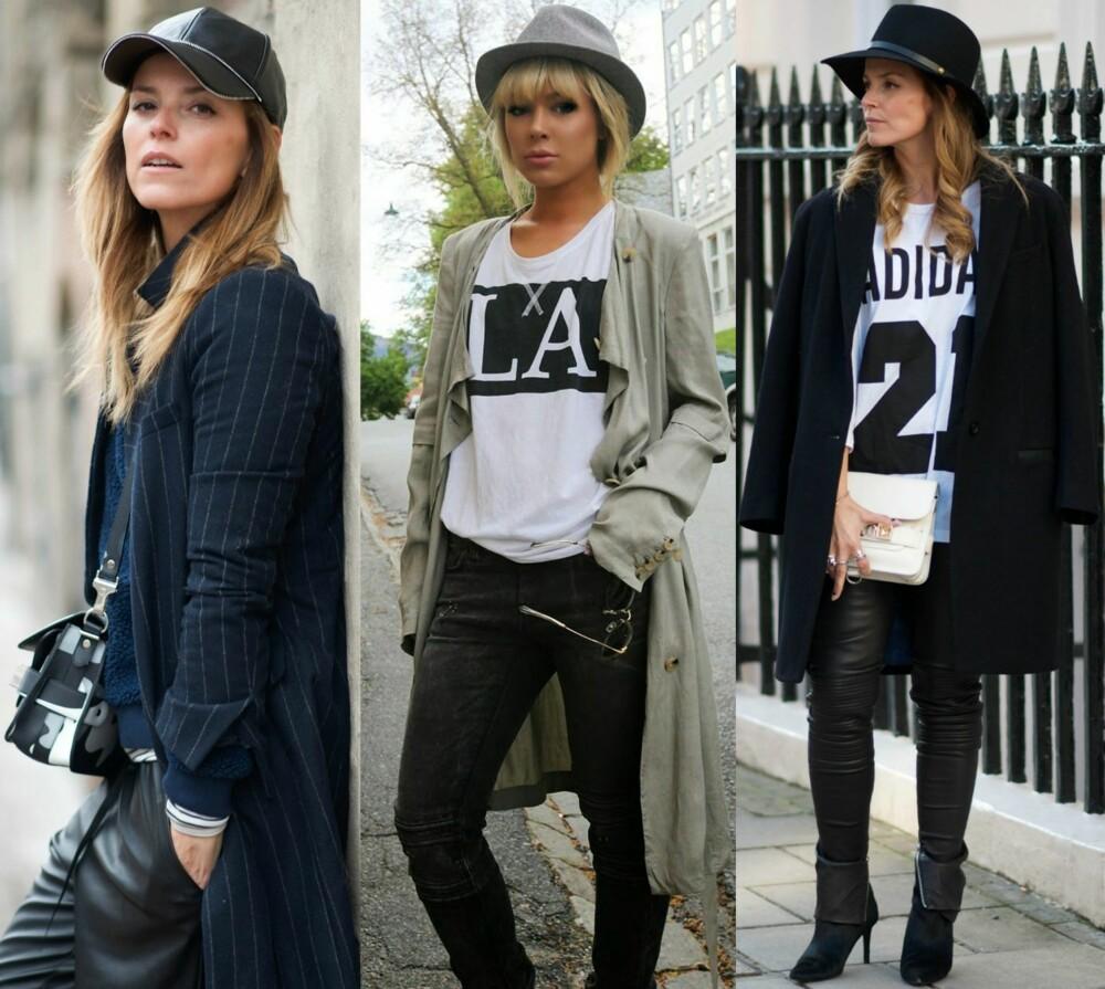 HEVER ANTREKKET: Fra venstre: Livsstilsblogger Janka Polliani mener du bør passe på så du ikke overstyler resten av looken når du går for en hatt. Her er hun iført en sporty skinncaps. I midten: Moteblogger Ulrikke Lund er kjent for å være en ekte hatteelsker. - Klassiske plagg som jeans og t-skjorte er supre for en nybegynner som gjerne vil bruke mer hatt, sier Lund. Til høyre: Polliani kombinerer hatten med et enkelt antrekk i svart og hvitt.