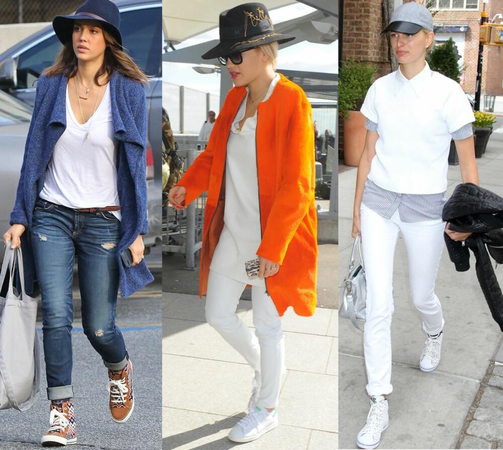 INSPO  Fra venstre  Jessica Alba styler hatten med et casual antrekk  en  hvit f637bffcca581