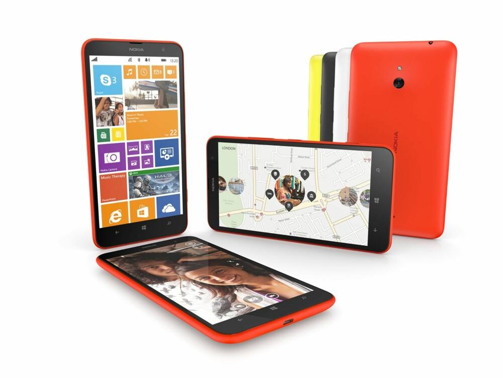 MER PLASS: Den seks tommers store skjermen på Nokia Lumia 1320 gjør at du får plass til flere fliser på startskjermen, noe som reduserer skrollingen i den litt uoversiktlige applisten.