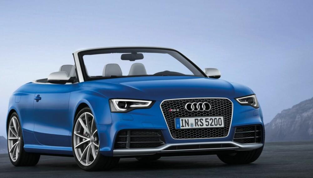 SPORTSLIG: Frontspoileren har store luftinntak, hjulbuene er kraftige og den lave skulderlinjen på bilen definerer den sportslige karakteren. Foto: Audi