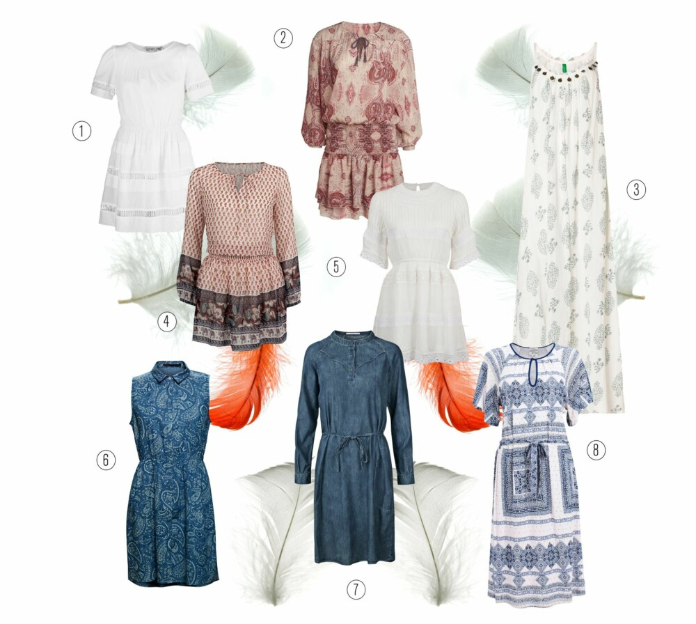 BOHEMSK IDYLL: 1// Gat Rimon/La Redoute, kr 949. 2// Lindex, kr 349. 3// United Colours of Benetton, kr 799. 4// Bik Bok, kr 399. 5// Bik Bok, kr 249. 6// Minimum, kr 600. 7// Part Two, kr 799. 8// Baum und Pferdgarten, kr 999.