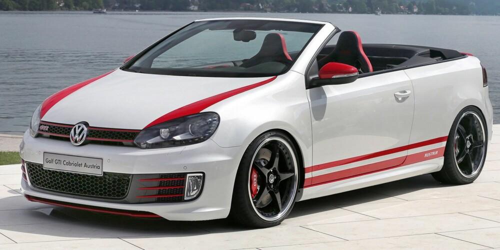 WÖRTHERSEE: VW Golf GTI Cabrio Austria. Baksetene er kastet ut og erstattet av et anlegg på 2250 watt. FOTO: Produsent