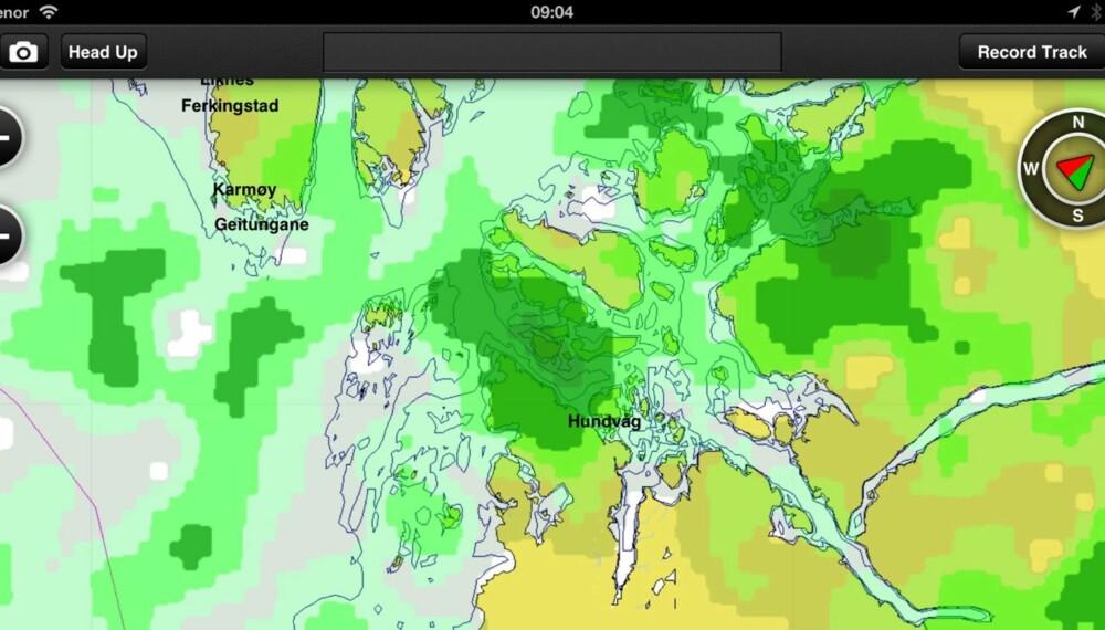 VÆRRADAR: Du kan kjøpe tilleggstjenester for appen. Eksempelvis utvidet værinformasjon som laster ned data om nedbør og skyer. Det koster 28 kroner. Her ser vi at det er noe nedbørsaktivitet i områdene rundt Stavanger.