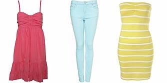 FRA VENSTRE: Kjole fra Ichi (kr 349), bukse fra Topshop (kr 376) og kjole fra Topshop (lr 150).