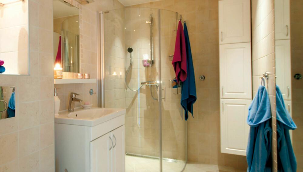 TRYGT OG LEKKERT: Topp moderne bad, som eieren kan være trygg på er utført i henhold til BVN, byggebransjens våtromsnorm.