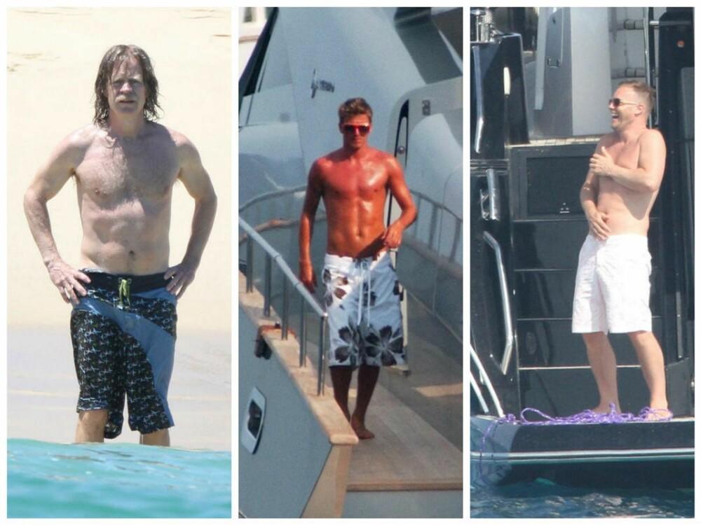 FOR LANGE: Den lange badeshortsen sees overalt i sommer-Norge, men ikke la deg lure. Shorts som går langt under kneet, er sjeldent flatterende. Til og med David Beckham ser ut som en fjortis! FOTO: Stellapictures.no