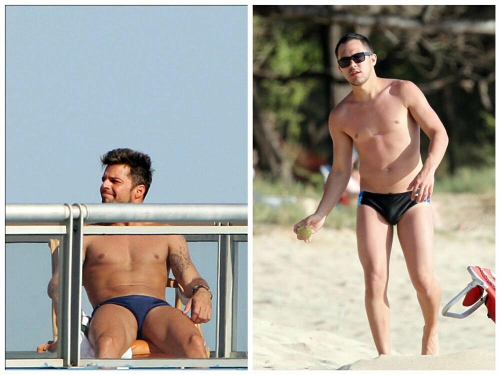 KLEDELIG: Ikke alle kler speedo, men det kan se veldig stilig ut. Ricky Martin og Carlos Pena har knekt koden. FOTO: Stellapictures.no