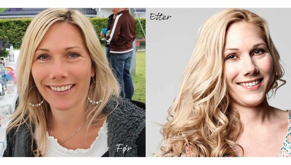 FØR OG ETTER: - Veldig uvant med så stort hår! synes Karina om resultatet. Men fornøyd ble hun!