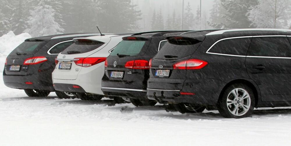 TIL SLUTT VINNER TYSKERNE: Vi mener Ford Mondeo totalt er best av de fire testbilene. Testen bekrefter for øvrig at Hyundai i40 blir en bil å regne med.