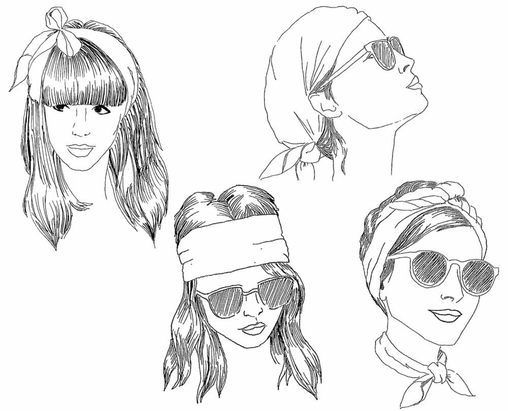 SKJERF I HÅRET: Her ser du fire ulike måter du kan bruke skjerfet på i håret. Enklere blir det ikke!