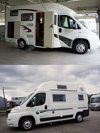 BOBIL VS BYBOBIL: Øverst står bobilen EuraMobil Profila 590, nederst bybobilen Karmann Dexter 550. En større bredde gir betydelig mer romfølelse i den førstnevnte. FOTO: Geir Svardal