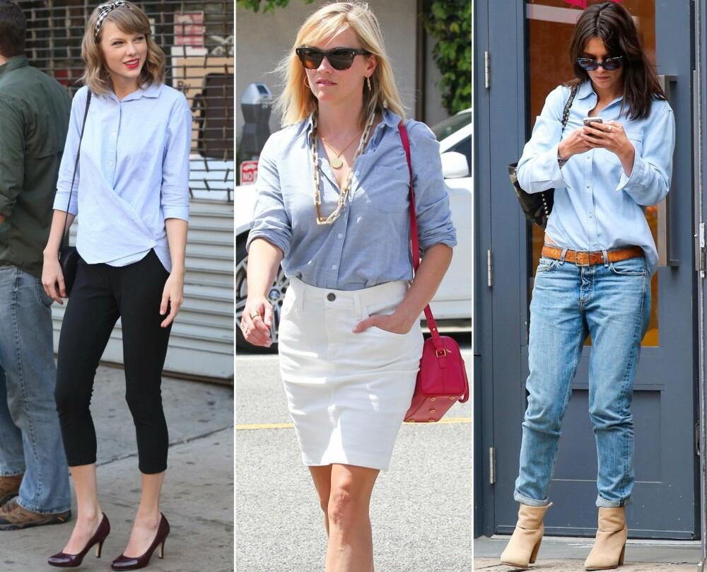 POPULÆR BLANT KJENDISENE: Stjerner som Taylor Swift, Reese Witherspoon og Katie Holmes bruker en blå skjorte sammen med henholdsvis en svart bukse, skjørt og jeans.