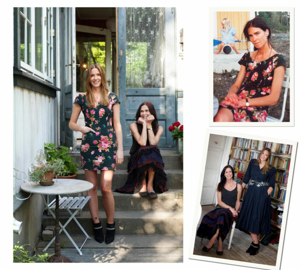 Vilde i Kenzo-kjolen hun har arvet. Øverst til høyre: Moren Inger i den samme kjolen som 32-åring. Bildet nederst  til høyre: Vilde har på kjolen er av merket Chacok som Inger kjøpte da hun var 25.