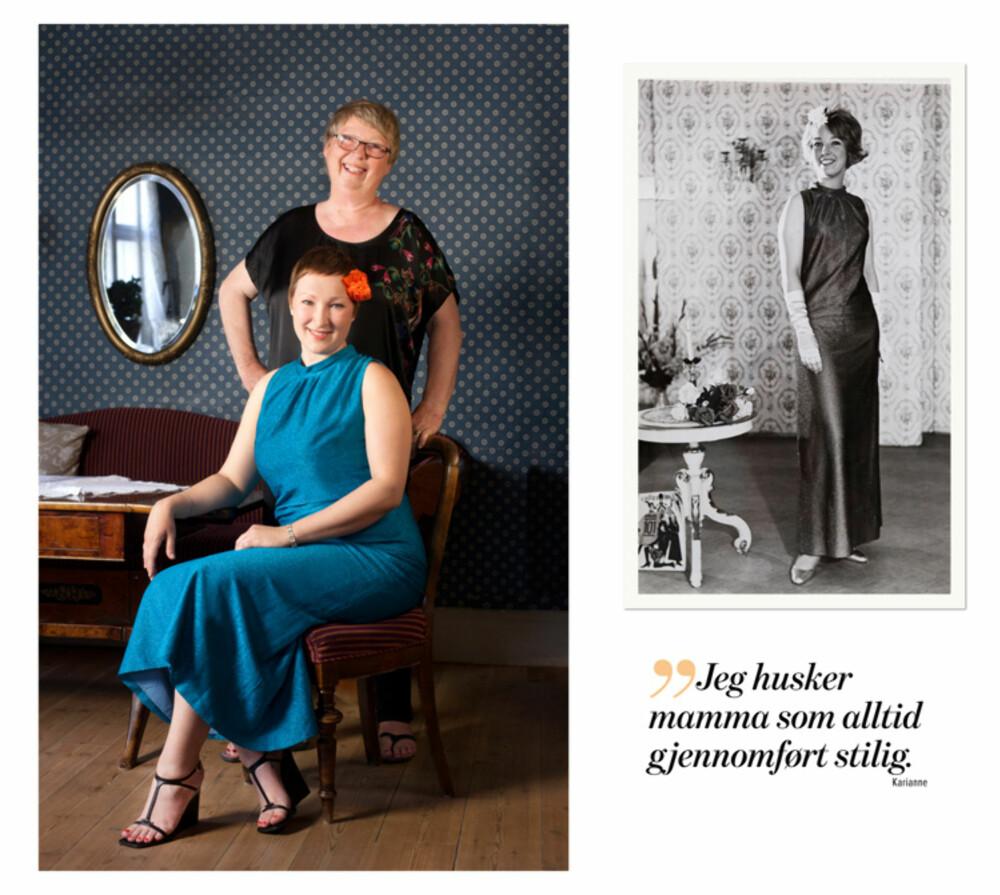 Stoffet til den turkise kjolen var dyrt, og mamma Inger grudde seg til å sette saksa i det i 1967. På bildet til høyre er Inger 21 år. Skoene og hanskene var sølvfargede.