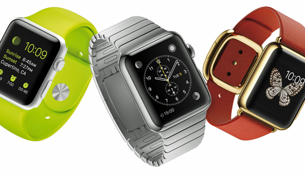 KLOKKE: Den nye Apple Watch kan kombineres med reimer ulike farger og materialer.