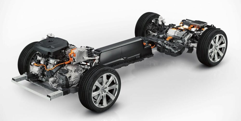 HYBRID: Volvos svar på framtidige utslippskrav er et ladbart hybridsystem. I XC90 har systemet til sammen 400 hk og skal ha ytelser som kan konkurrere med en V8-motor. Ikke bli overrasket om det kommer hybridutgaver med lavere effekt seinere. FOTO: Volvo