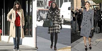 HØSTKÅPER: Velg en kåpe som kler din kroppsfasong, som Liv Tyler, Leighton Meester og Keira Knightley.