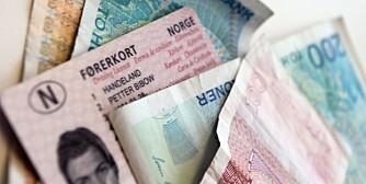 Lappen, førerkort, sertifikat, klasse b, penger, koster, kroner, bil