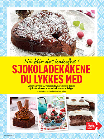 DEILIGE KAKER: Gled deg til Hjemmet uke 13! Her har vi samlet 10 rennende og fristende  sjokoladekakeoppskrifter.