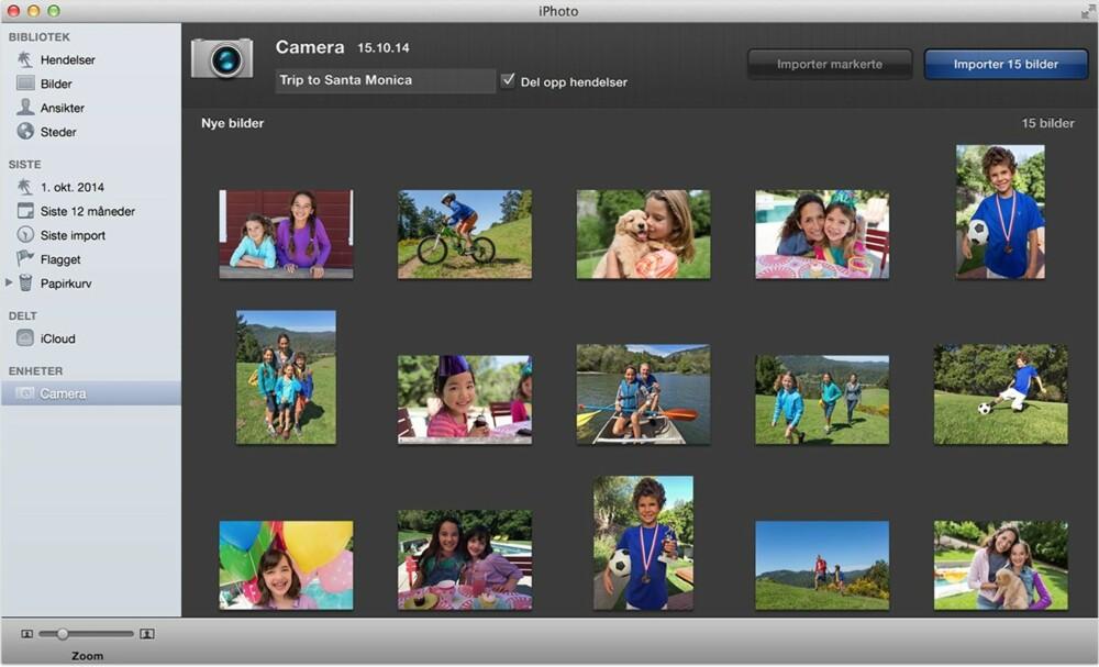 Har du Mac kan du bruke Photo for å få bildene ut av mobilen og inn på Mac-en.