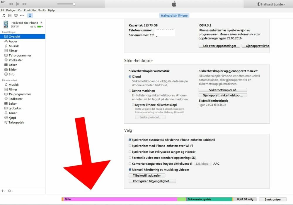 Fullt lagringsminne? Bruk iTunes for å rydde opp hva som faktisk lagres på din iPhone.