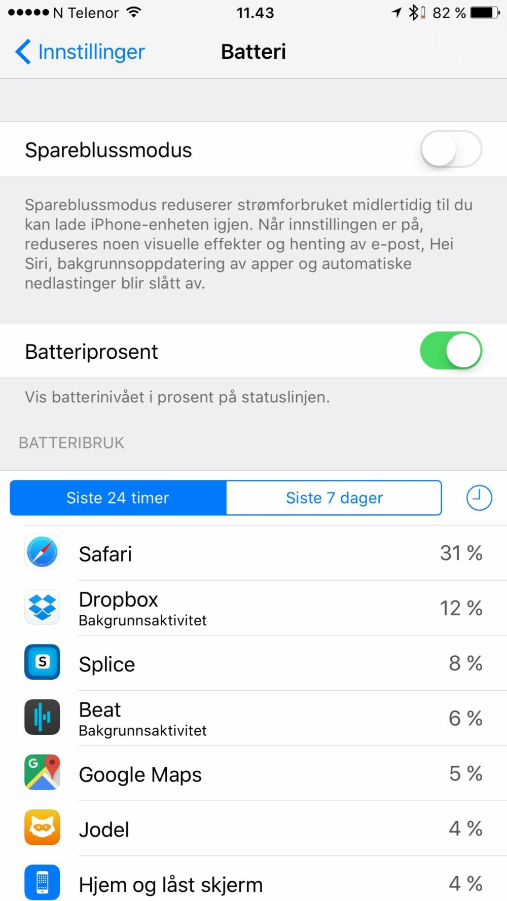 Sjekk innstillingene for batteriet for å finne ut om det er enkelte apper som er ekstra batteritørste.