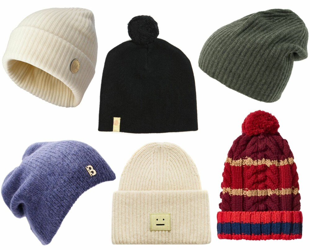 LUER OVER KR 300 (f.v.): Wool Land Kashmirlue Store Snøhetta, White Sheep, kr 499. Fleischer Couture Beanie Cashmere Wool, kr 699. Kashmina Rib caps army, kr 949. By Benedicthe Navy Hat/Miinto.no, kr 699. Acne Studios Pansy S Hat Cream White, kr 745. Tommy Hilfiger Burgundy Red Cable Knit Hat, kr 1300.