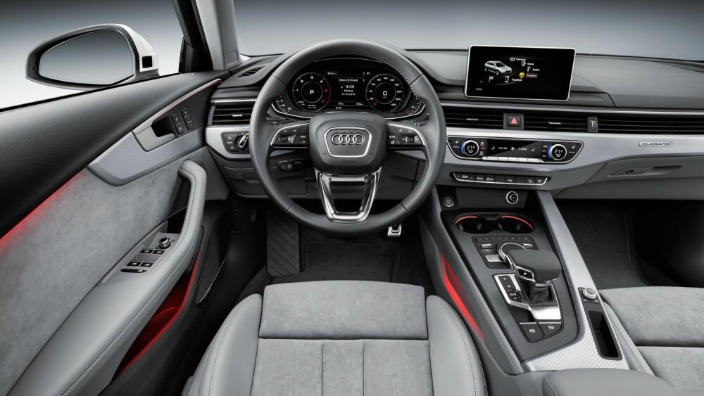 Q7: Interiøret i nye A4 Allroad henter mye fra Audi Q7. Det nye MMI-operativsystemet er i stor grad også hentet fra Q7. Betjeningen av de ulike infotainment-menyene kan styres både fra betjeningselementet i midtkonsollen og multifunksjonsrattet. Allroad kan også fås med Virtual Cockpit, et heldigitalt instrumentpanel med ulike visningsmodus. FOTO: Audi