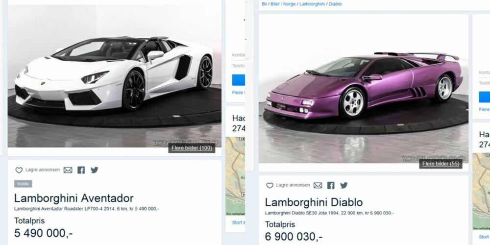 ELDST OG DYREST: De tre Lamborghiniene på topplista selges av samme firma. De to nye Aventadorene må se seg slått av en betydelig eldre og dyrere Diablo.